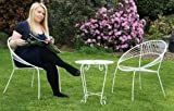 Retro Wrought Iron Bistro Table - Matching Chairs Available - (White)