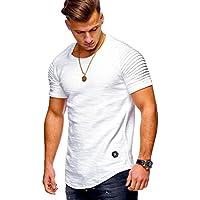 Camisas de Hombres,Dragon868 Verano Nuevo Estilo Slim Fit O Cuello Algodón Casual Shirts para Hombres
