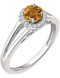 Silvernshine 7mm Orange Citrine & Sim Diamond Halo Engagement Ring In 14K White Gold Plated