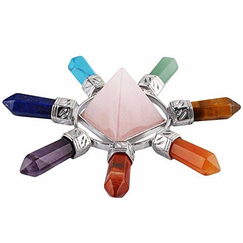 Shanxing Rosenquarz & 7 Chakra Pyramide Energie Generator,Reiki Stein für Kristall Healing (Chakra Energie, Steine)