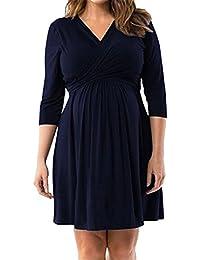 Tayaho Vestido Para Embarazadas Mujer Vestido a Capa Lactancia Vestidos De Verano Través Rodillera Mujeres Dress