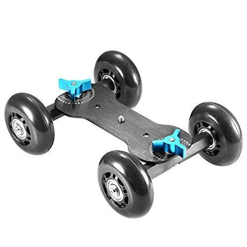 Neewer Tabletop Mobile Rolling Slider Dolly Car Skater Video Track Rail for Speedlite DSLR Camera Camcorder Rig (Black)