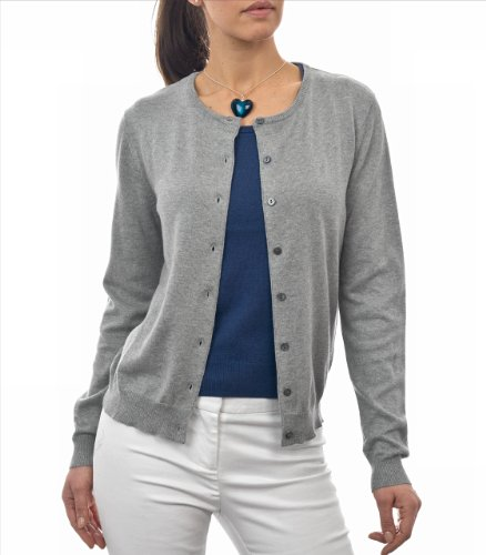 WoolOvers Cardigan à col rond - Femme - Soie & Coton Flannel Grey