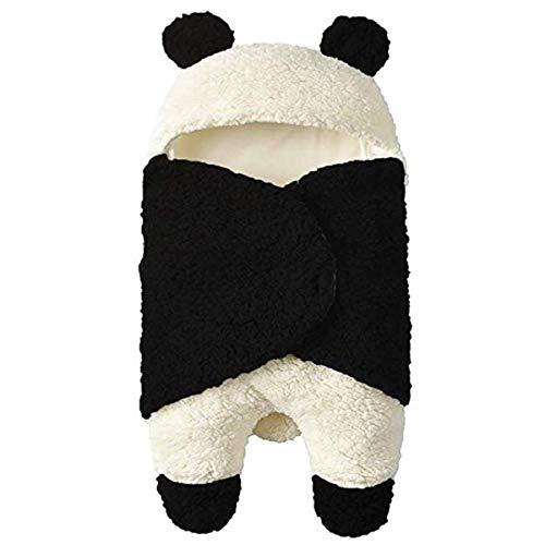 Neugeborenes Baby Winter wickeln Wickeldecke, Unisex tragbare Schlafsack erhalten Decke, Fleece Baumwolle Kinderwagen Krippe Schlafsack (0-3M, Black)