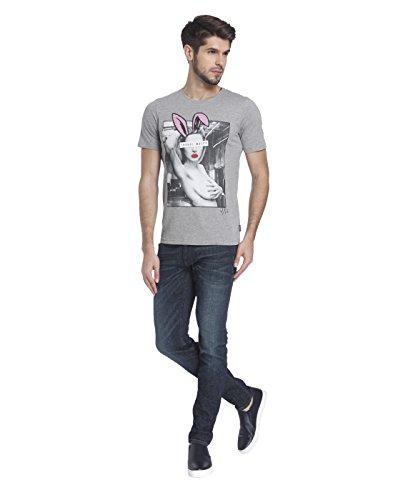 JACK & JONES Herren T-Shirt jorPLAYGIRL Tee Print Mehrfarbig Slim Fit Grau (Light Grey Melange Fit:SLIM Detail:MEL)