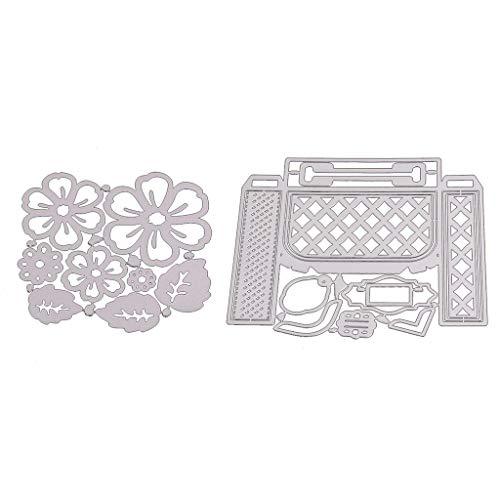 Xurgm - Set di 2 fustelle a forma di fiore e scatola per scrapbooking, in metallo