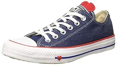 Converse Women's Cotton Indigo/Enamel Red/White Sneakers-6 UK/India (39 EU) (8907788162642)