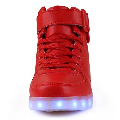 tuluo Kid e uomo e donna USB carica LED 7 Colori High Top Sneakers Luce Scarpe Red