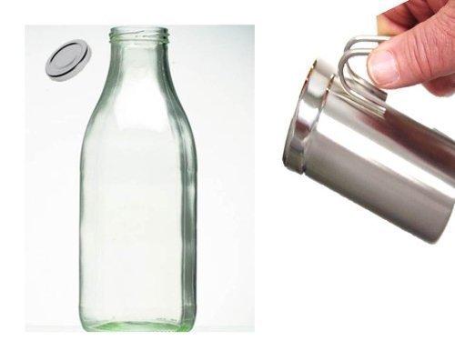 Milchkännchen zum Aufschäumen von Milchschaum, Edelstahl, für 400 ml + Milch Glasflasche mit Deckel 1 Liter