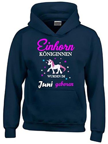 Einhorn Königinnen wurden im Juni geboren ! Unicorn NAVY-HOODIE, Gr.140cm