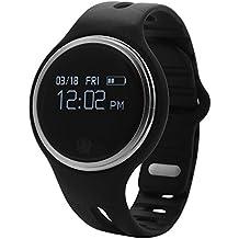 """Bluetooth 4.0 Smartwatch Reloj de Pulsera para Móvil Android IOS (OLED 0.96"""", Bluetooth, SIM, Llamada, Podómetro, Control Remoto de Cámara, Impermeable, Sueño, Caloría), (Negro) AC341"""