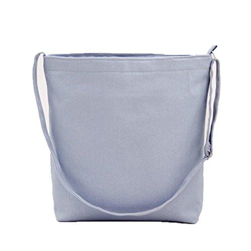 Miaomiaogo Sacchetti della borsa della spalla della tela di canapa di colore solido semplice Letterario Borse piccole delle nuove donne fresche grigio