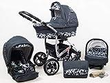 True Love Larmax Kinderwagen Komplettset (Autositz & Adapter, Regenschutz, Moskitonetz, Schwenkräder) (Grau GeometrischeMuster)