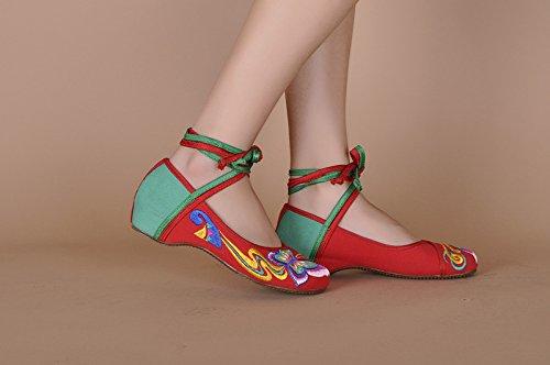 ZLL Gestickte Schuhe, Sehnensohle, ethnischer Stil, Femaleshoes, Mode, bequem, Tanzschuhe , red , 41