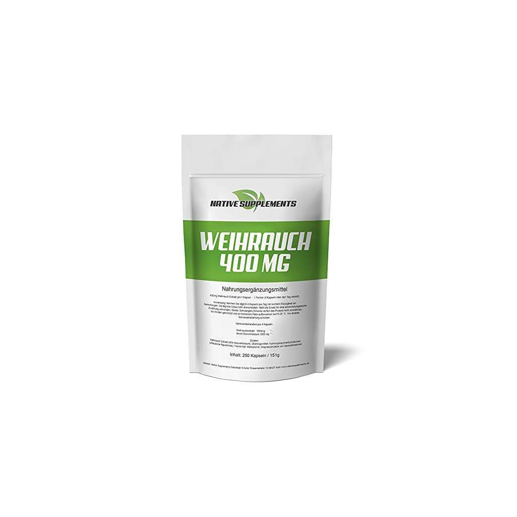 250 Weihrauch-Kapseln, original Boswellia Serrata, Hochdosiert und Hochwertig – 1600mg je Tagesdosis – 80% Boswellia-Säuren, Premium Qualität, für Veganer geeignet