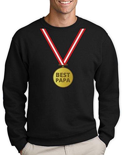 Präsent Pullover mit Gold Medaille - Bester Papa mit Auszeichnung Sweatshirt Small Schwarz