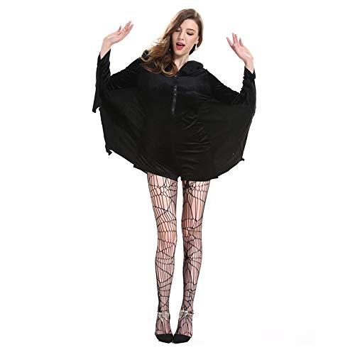 KEMANDUO Halloween Kostüm - Damen Kurzarm Lässige Halloween Bat Kostüm - Große Größe Langarm Bat Kostüm,XXXXL