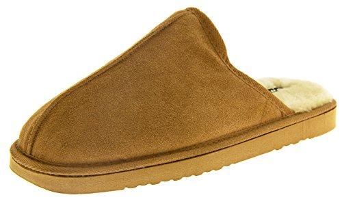In Uomini Foderata Pelliccia Marrone Pelle Scamosciata Dunlop Pantofole Finta Brandon qdx78qw4