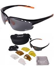 Herren und Damen Fusion Schwarz Polarisierte Radbrille mit Wechselgläser: Auch für Laufen