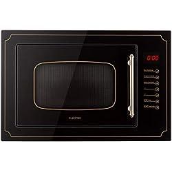 Klarstein Victoria 25 • micro-ondes encastrable • design rétro • 25L • micro-ondes 900W / puissance de gril 1000W • 2 fonctions grill/micro-ondes • acier inoxydable • cadre de montage • noir