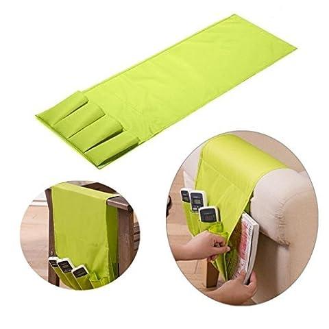 Generic Vert: Sofa Accoudoir Sac de table de support pour télécommande TV Télécommande Organiseur 4télécommandes poches pour téléphone portable Pochette de rangement
