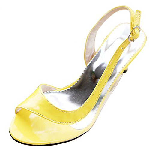 COOLCEPT Femmes Talons de chaton Sandales Peep Toe Sangle de cheville Transparent Chaussures for Ete Jaune