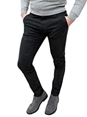 Idea Regalo - Evoga Pantaloni Casual Uomo Invernali Slim Fit (46, Nero)