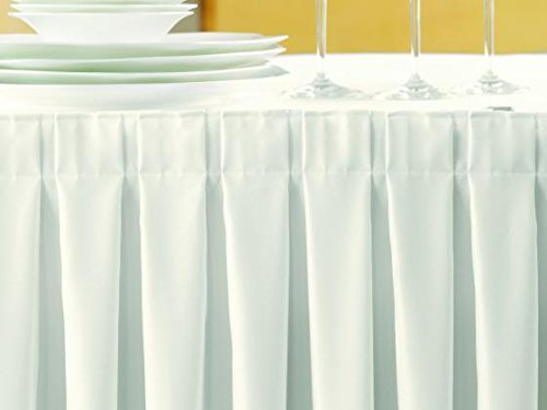 Gastro Uzal Skirting Excellent 520x73 cm Weiss/weiß Tischrock/Kellerfalte für die Tischgrößen 170 x 80 cm / Ø160 cm geeignet mit rückseitigem Klettband, ...