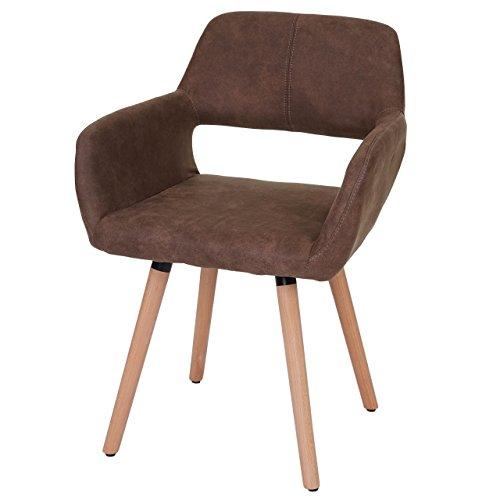 Chaise de salle à manger HWC-A50 II, fauteuil, design rétro des années 50 ~ tissu, marron
