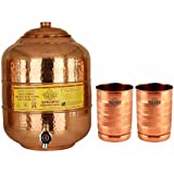 Taluka Handmade Healthy Pure Copper Matka Water Pot Pitcher Pot Water Tank Capacity :- 6000 ML With 2 Copper Glass 300 ML For Water Drinking And Storing Purposes Healthy Habits Ayurvedic Benefits Weight :- 1350 Grams