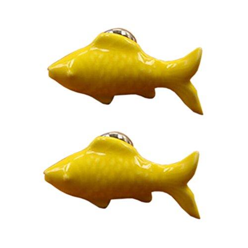 4PCS tirette / armoire de poignée poignées en céramique poignées d'armoire poisson jaune mignon