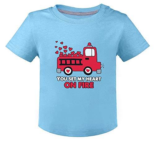 St Valentin Set My Heart on Fire - Naissance T-Shirt Bébé Unisex 24M Bleu Ciel