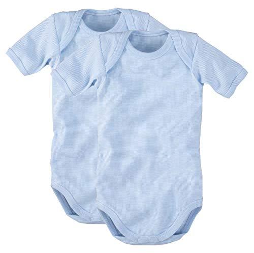 (wellyou Baby und Kinder kurzarmbody/baby-body mädchen und junge aus 100% Baumwolle, kurzarm body in hell-blau weiß 2er Set gr 128-134)