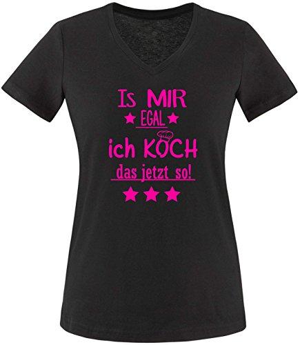 EZYshirt® Is mir Egal! Ich Koch das jetzt so Damen V-Neck T-Shirt Schwarz/Neonpink