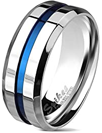 BlackAmazement Ring 316L Edelstahl Grooved Centered Line Silber Blau Blue IP Herren Damen