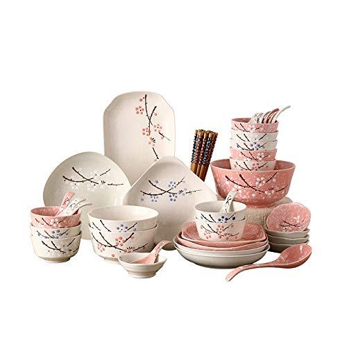 RKY Bol- Set de vaisselle japonaise en céramique 46 tête couverts ensemble vaisselle bol plat ménage plaque cadeau de pendaison de crémaillère cadeau 5 couleurs en option /-/ (Couleur : Mixed color)