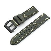 Pelle verde scuro Crazy Horse acciaio nero Chiusura La nuova pelle reale ruvida spessa Double S grossa mano linea di orologi cinturino 22MM