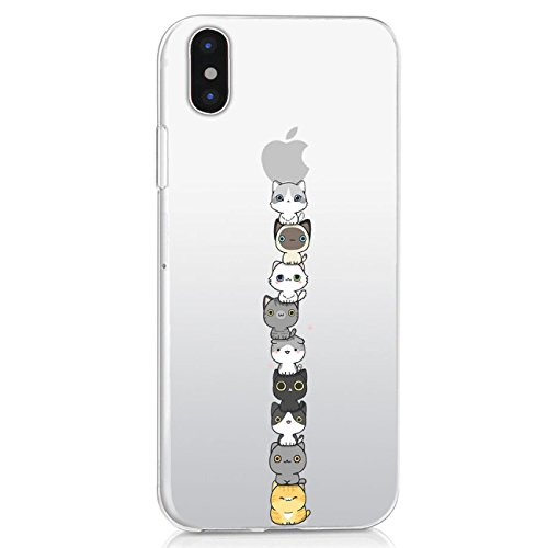 Custodia iPhone X, Alsoar® Cover iPhone X Silicone, Cover per iPhone X Case Custodia Silicone Trasparente Morbido Ultra Sottile Gel Protettiva Shock-Absorption (Gatto)