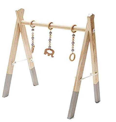 Marbeine Wooden Baby Gym, Handmade Wooden Baby Play Gym Sensory Activities Wooden Toy for Baby + 3PCS Pendants (Random Style) (Gray)