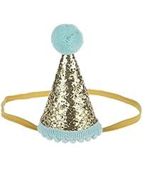 Malloom Bebé Lentejuelas Cumpleaños Sombreros de corona, Diademas de flores elástico (Oro)