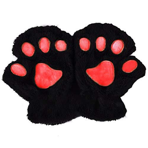 chenpaif Frauen Mädchen Schöne Katze Pfote Kralle Dicke Halb Fingerlose Handschuhe Fluffy Plüsch Handschuh schwarz