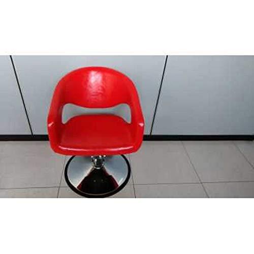 Sedia poltrona 8960 parrucchiere professionale alzabile (con poggiapiedi, rosso)
