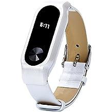 Malloom Reemplazo de cuero pulsera correa para Xiaomi Mi Band 2 Smartband (blanco)