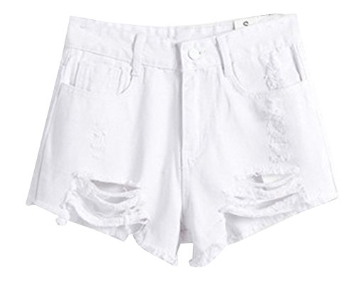 SaiDeng Donne Vintage Vita Alta Jeans Shorts Hot Pants Pantaloncini Denim