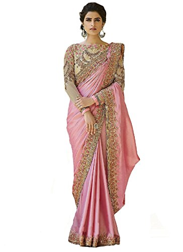 Magneitta Women\'s Crepe Chiffon Saree with Blouse Piece, Free Size (97036, Pink)