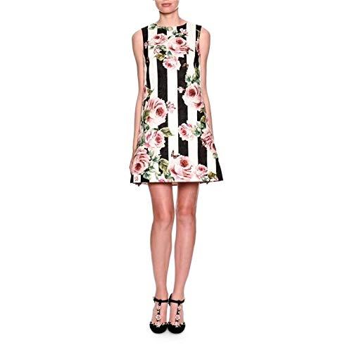 QUNLIANYI Kleider Lang Rosa Rose Print Kleid Womens Sleeveless Zurück Button Gestreift Jacquard Kleid Tank Mini Kurzes Kleid M -