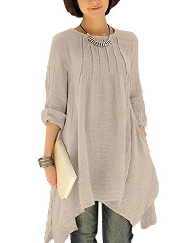 BIUBIU Damen Vintage Langarm Loose Kleid Boho Taschen Asymmetrisch Kleider DE 34-46 Beige DE 42 (Leinen-baumwoll-kleid)