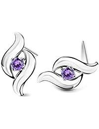 Lily joyas bañado en plata morado piedra de cristal austriaco Swarovski element pendientes para las mujeres