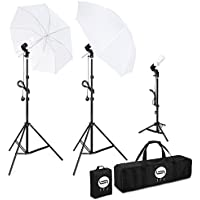 TFJ Photography Studio Continuous Lighting Soft Umbrella Kit 600W Soft Umbrellas with E27 5500K Day-Light Lighting for Portrait Photography, Studio and Video Shooting