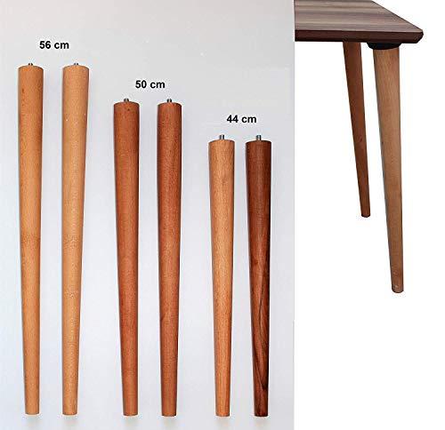 4er Set Holz Tischbeine aus massivem Naturholz - perfekt geeignet für Esstisch, Couchtisch, Schreibtisch & mehr - 3 Verschiedene Größen (S 44cm)